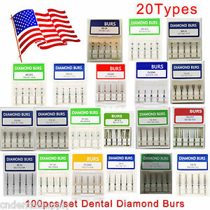 1000 Dental High Speed Handpiece Turbine Diamond Burs Fg 1 6mm Usa Ship
