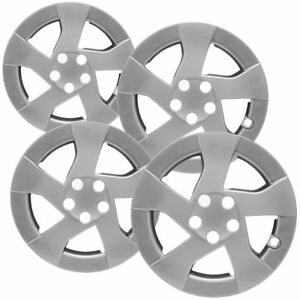 4 Pc Hubcaps Fits 15 17 Toyota Prius 15 Silver Replacement Wheel Rim Cover