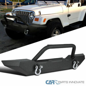 87 06 Jeep Wrangler Yj Tj Textured Metal Front Bumper Guard D Ring Winch Mount