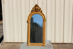 Fabulous Victorian Gold Pier Mirror With Ornate Crown With Large Ansonia Head