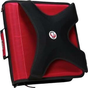 Case it X hugger 2 Round Ring Zipper Binder Organizer W Book Holder Red