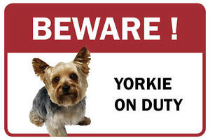 Yorkie Beware Business Store Retail Counter Sign