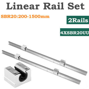 2pcs Sbr20 L200 1500mm Linear Rail Shaft Rod 4pcs Sbr20uu Block Bearing