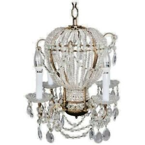50 S Maison Bagues Style Hot Air Balloon Cut Crystal Beaded Bronze Chandelier