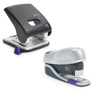 Rapesco Purple And Silver Office Set Stapler And Hole Punch 1000 Free Staples