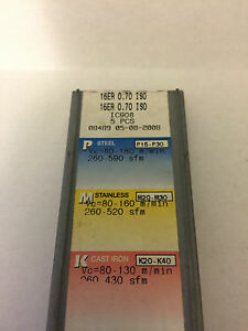 Iscar Carbide Inserts 16er 0 70 Iso Ic908 Quantity 5