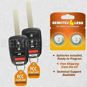 2 For 2013 2014 2015 Honda Accord Civic Keyless Remote Head Key Fob Replacement