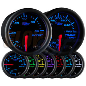 Glowshift 52mm Black 7 Color 60psi Diesel Boost Transmission Temp Gauge Set