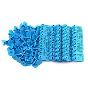 1set 1 500 Number Blue Ear Tag Plastic Livestock Tag For Goat Sheep Pig Cow