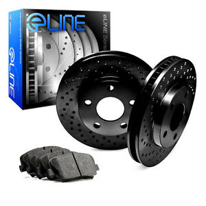 Black Edition Eline front Cross Drilled Brake Rotors Disc Ceramic Pad B5206
