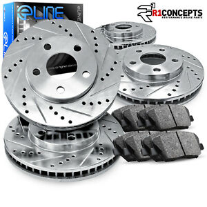Brake Rotors Full Kit Eline Drilled Slotted Pads Mazda Miata 1989 1993