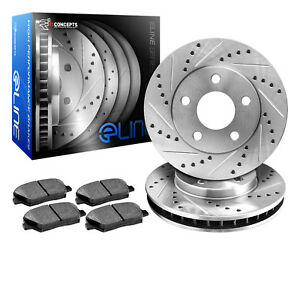 Brake Rotors Rear Kiteline Drilled Slotted Pads Ford Mustang 1994 2004 Cobra