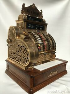 Antique Brass National Cash Register 442 Restored Looks Works Great