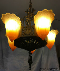 1920s Chicago Art Deco 5 Light Slip Shade Chandelier Lincoln Lighting Company