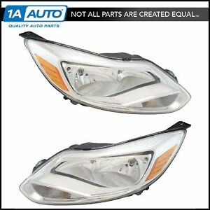 Halogen Headlight Lamp Assembly Pair Lh Rh Kit Chrome Trim For 12 14 Focus New
