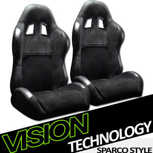 Jdm Sp Sport Black Suede Leather Reclinable Racing Bucket Seats sliders Pair V12