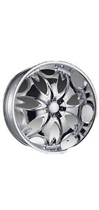 26 Inch Phino Pw68 Chrome Wheels Rims And Tires Fit 5x115 5x120 13 Offset