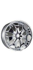 26 Inch Phino Pw28 Chrome Wheels Rims And Tires Fit 5x115 5x120 13 Offset
