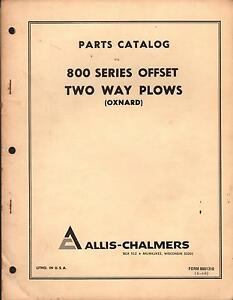 1968 Allis chalmers 800 Offset Two Way Plows oxnard Parts Manual Form 9001310