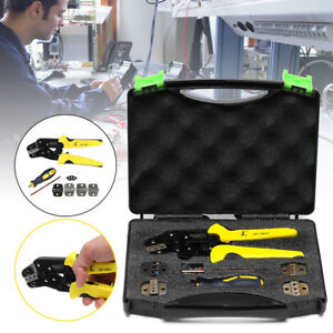 Insulated Terminals Ferrules Crimping Plier Wire Ratcheting Crimper Tool Set