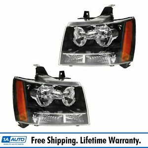 Headlights Headlamps Pair Set Of 2 For 07 14 Chevy Suburban Tahoe Avalanche New