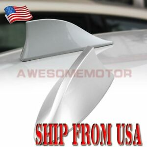 Us Silver Top Roof Radio Fm Shark Fin Antenna Aerial Tape Decor For Nissan Am