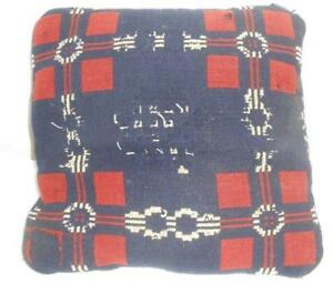 12 Square Antique Woven Blanket Coverlet Material Pillow Blue Red