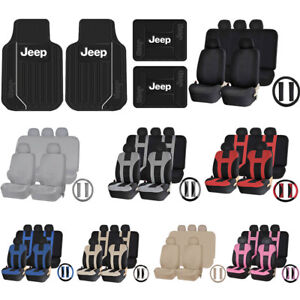 Elite Black Front Rear Floor Mat Uaa Universal Seat Covers Steering Set For Jeep
