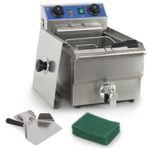 Commercial Electric 10l Deep Fryer W Timer And Drain Stainless Steel French Fry