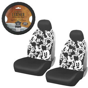 New Mickey Mouse Expression Car Truck 2 Front Seat Covers Steering Wheel Cover