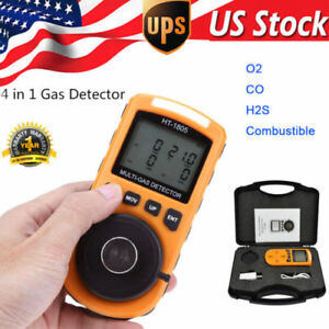 4 In 1 Gas Detector Co O2 H2s Oxygen Lel Gas Monitor Testing Analyzer Meter