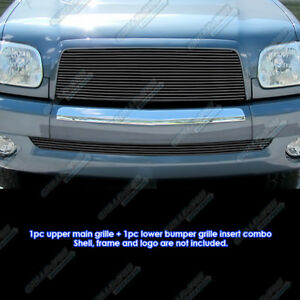 Fits 2003 2006 Toyota Tundra Black Billet Grille Combo