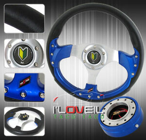 320mm Racing Steering Wheel 1 5 Thin Blue Quick Release Jdm Horn Button Kit