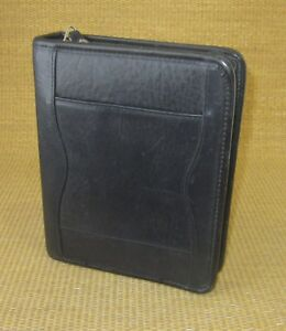 Compact 1 25 Rings Black Leather Franklin Covey Zip Planner binder Cross body