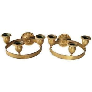 Early 19thc Antique Pair English Regency Dore Gilt Bronze 3 Light Ring Sconces