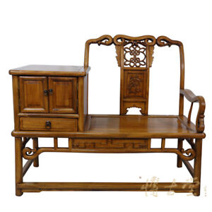 Chinese Antique Carved Camphor Wood Telephone Table W Chair 15lp05