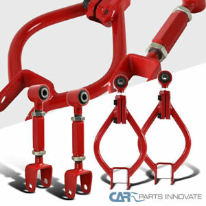 For 89 94 Nissan 240sx S13 Red Rear Suspension Traction Camber Arm Rod Toe Kit