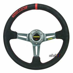350mm Deep Dish Suede Leather Steering Wheel Fits For Momo Sparco Omp Boss Kit