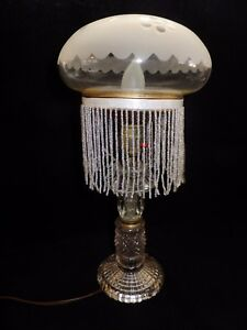 Victorian Glass Lamp With A Frosted Domed Glass Shade 15 T With 7 D Shade