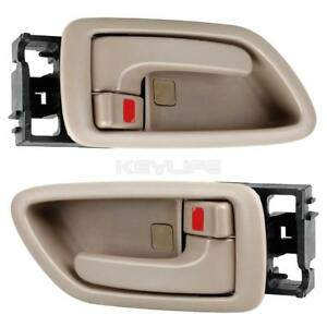2pcs Beige For Toyota Sequoia 01 07 Door Handle Front Rear Right Inside Rh Hand