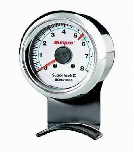 Sunpro 2 5 8 Inch Super Tachometer White Chrome Bezel Cp7911 Authorized Dist