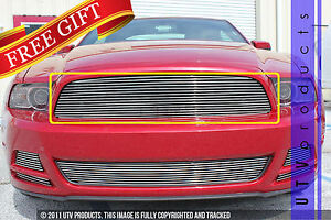 Gtg 2013 2014 Ford Mustang V6 1pc Polished Upper Replacement Billet Grille Grill