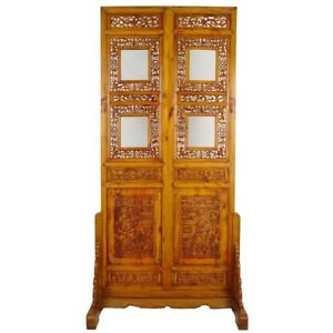 Chinese Antique Open Carved Screen Room Divider W Stand 20p41
