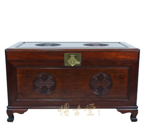 Chinese Antique Carved Rosewood Hope Chest Coffee Table 14lp47