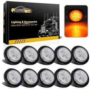 10x 2 5 Clear amber Led Marker Light 6 Diodes Drop Visor Light Towing Sealed