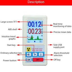 Geiger Counter Nuclear Radiation Detector Dosimeter Meter Tester Beta Gammax ray