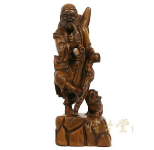 Chinese Antique Wood Carved Buddha Statuary Da Mo 27x07