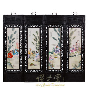 Chinese Antique Painted Porcelain Panels Wall Hanging 27x03a
