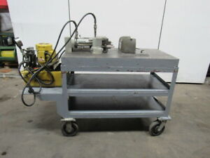 Enerpac 16 Ton Punch Press 115v Mounted On 4 X 2 X 5 8 Steel Table W wheels