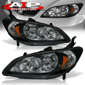 For 04 05 Honda Civic Lx Dx Ex 2 4dr Jdm Crystal Style Black Headlight 2004 2005